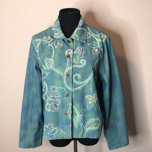Napa Valley unique jacket w/embroidered flowers